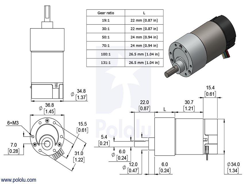 Hp 12v 500rpm 37mm metal red kt rl dc motor 19 1 for 2 hp 12v dc motor